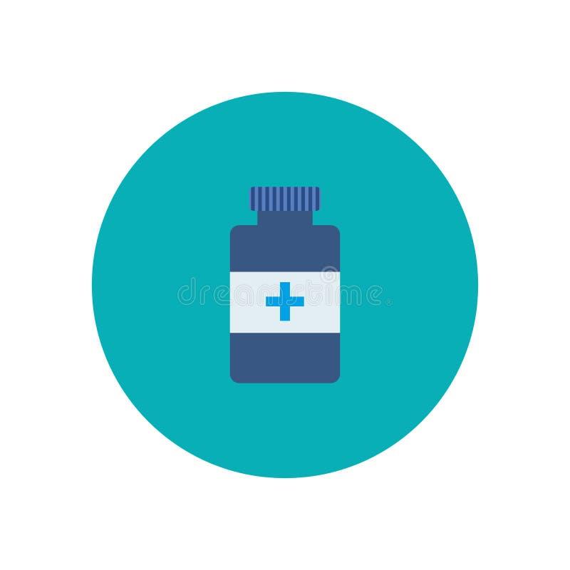 Vlakke fles met medisch pillenpictogram stock illustratie