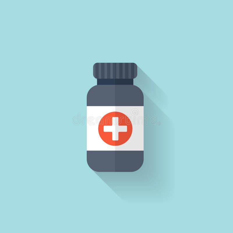 Vlakke fles met medisch pillenpictogram Tablettensymbool Vertragingen en wapens stock illustratie