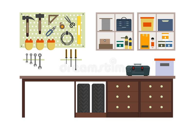 Vlakke garage binnen vector illustratie
