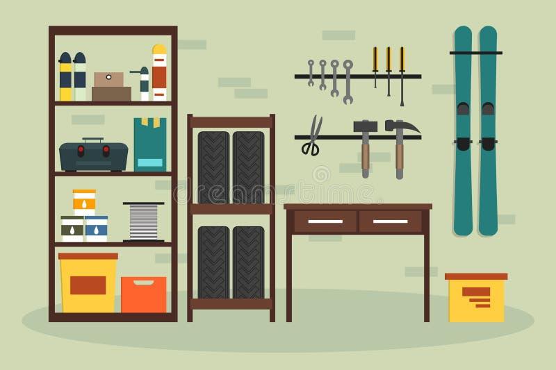 Vlakke garage binnen royalty-vrije illustratie
