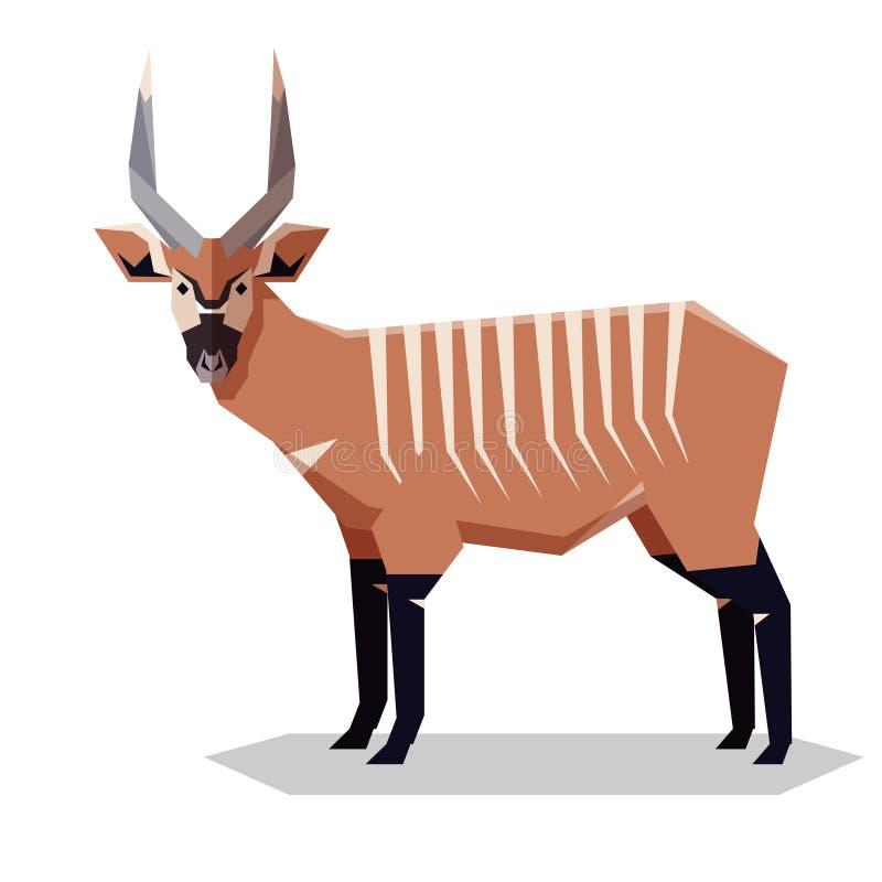 Vlakke geometrische Bongo-antilope vector illustratie