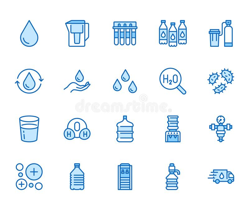 Vlakke geplaatste de lijnpictogrammen van de waterdaling Aquafilter, waterontharder, ionisatie, desinfectie, glas vectorillustrat stock illustratie