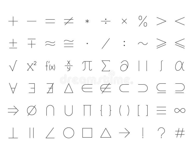 Vlakke geplaatste de lijnpictogrammen van wiskundesymbolen De wiskundige verrichtingen plus minus, vermenigvuldigen zich, oneindi vector illustratie