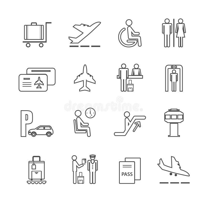 Vlakke geplaatste luchthavenpictogrammen royalty-vrije illustratie