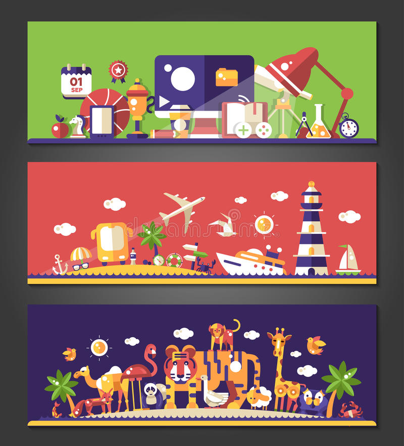 Vlakke geplaatste ontwerpbanners School, reis en wilde dieren stock illustratie