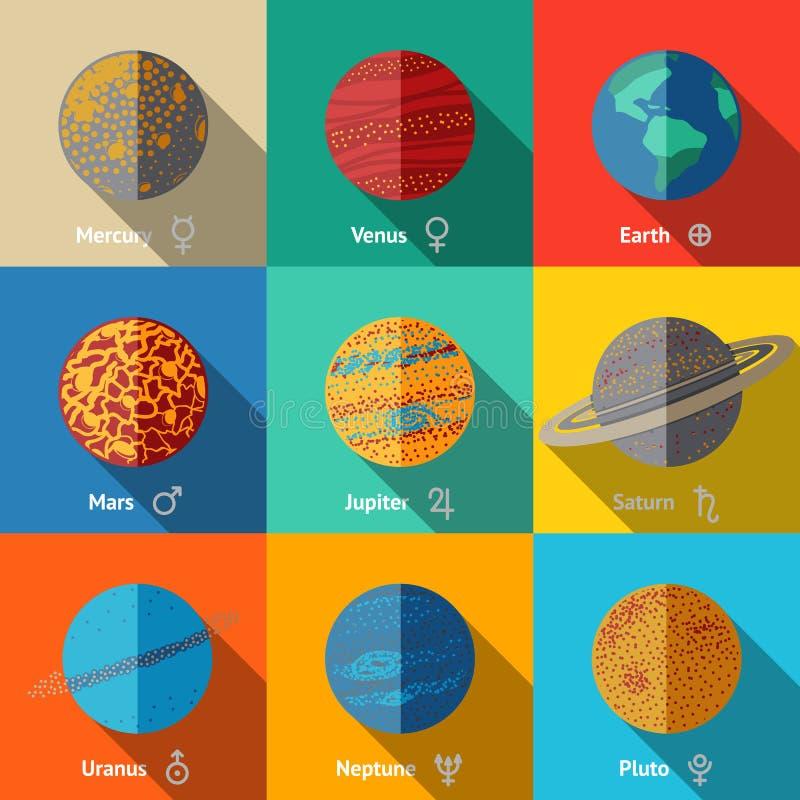Vlakke geplaatste pictogrammen, planeten met namen en stock illustratie
