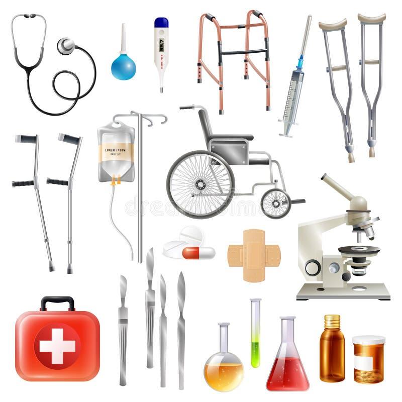 Vlakke Geplaatste Pictogrammen van gezondheidszorg de Medische Toebehoren vector illustratie
