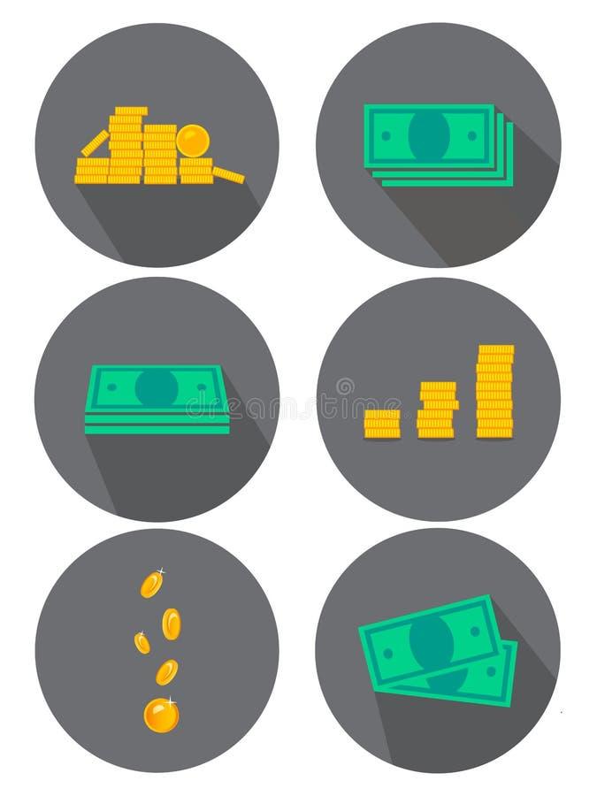 Vlakke geplaatste pictogrammen Varianten van geld, muntstukken Ideeën voor reclame en banners Vector illustratie royalty-vrije illustratie