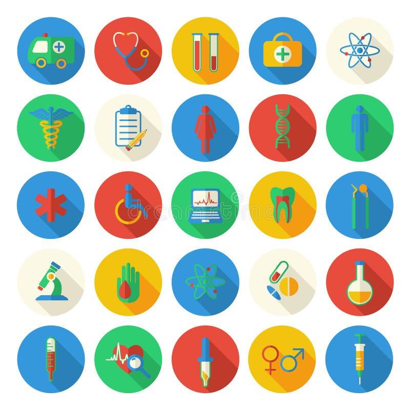 Vlakke geplaatste stijl medische pictogrammen stock illustratie