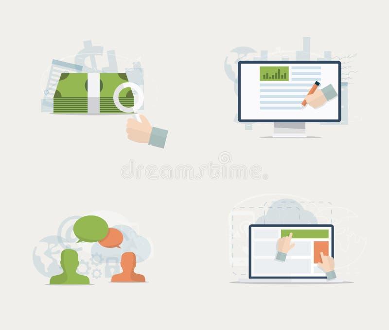 Vlakke geplaatste Webreclame en sociale media vectorconcepten stock illustratie