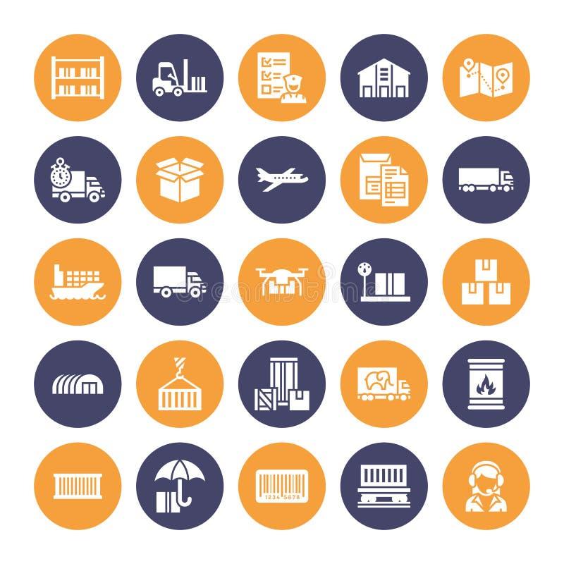 Vlakke glyphpictogrammen die van het ladingsvervoer, uitdrukkelijke levering, logistiek, het verschepen, douane, pakket, het volg royalty-vrije illustratie