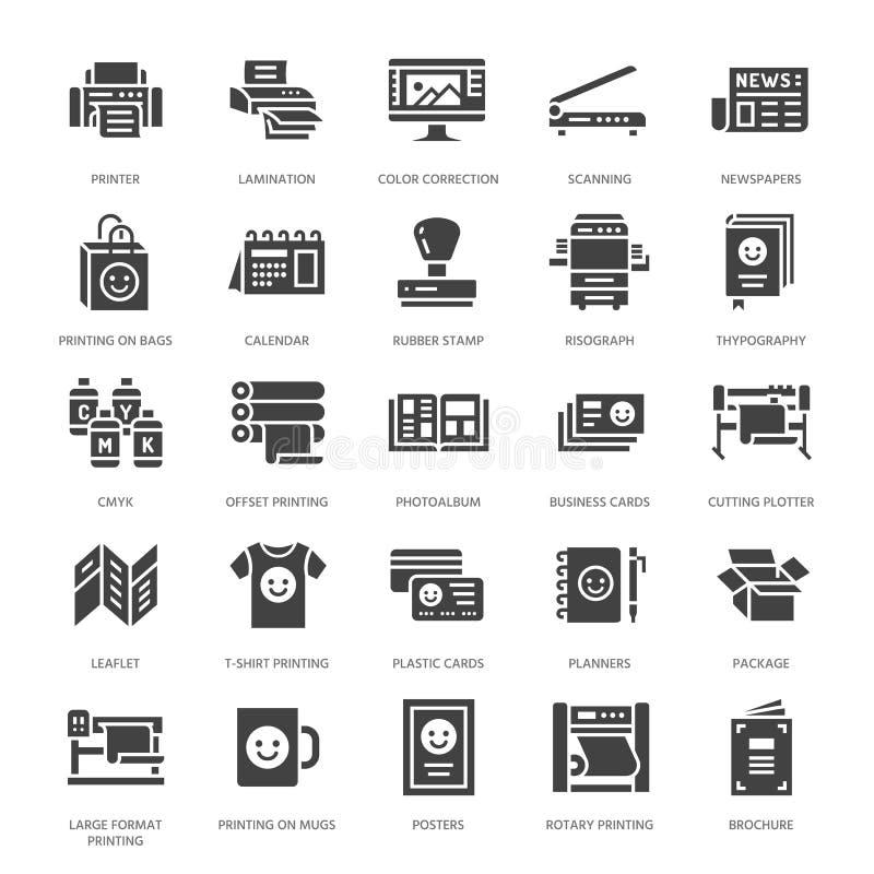 Vlakke glyphpictogrammen van het drukhuis Het materiaal van de drukwinkel - printer, scanner, gecompenseerde machine, plotter, br stock illustratie
