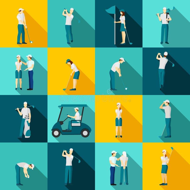 Vlakke golfmensen stock illustratie