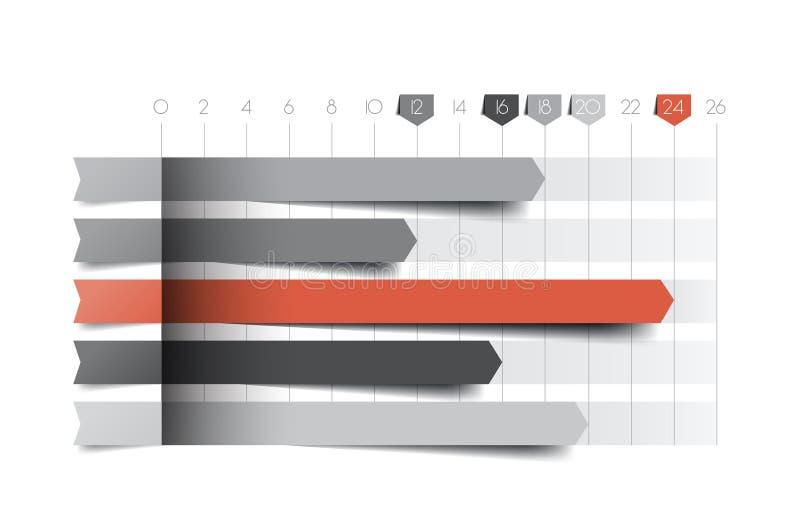 Vlakke grafiek, grafiek Blauwe kleur stock illustratie
