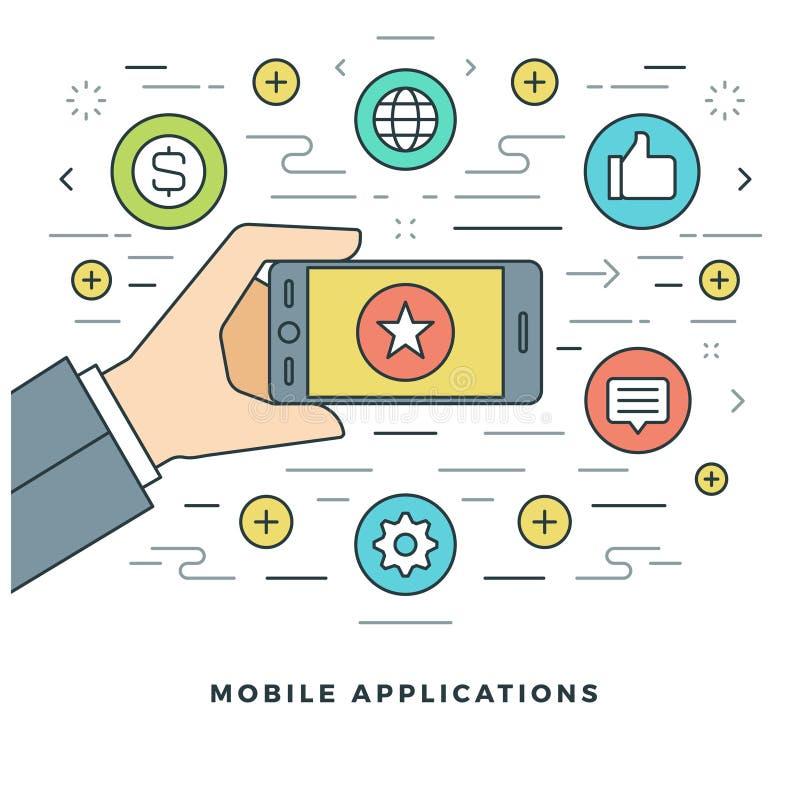 Vlakke het Concepten Vectorillustratie van lijn Mobiele Toepassingen royalty-vrije illustratie