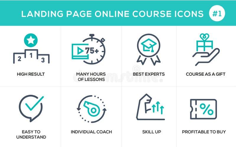 Vlakke het conceptenpictogrammen van het lijnontwerp online e-leert stock illustratie