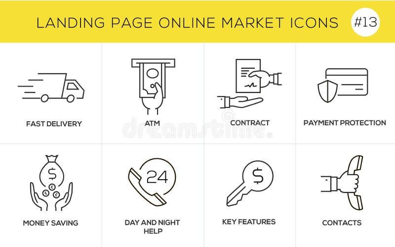Vlakke het conceptenpictogrammen van het lijnontwerp voor online het winkelen, websitebanner en landende pagina royalty-vrije illustratie