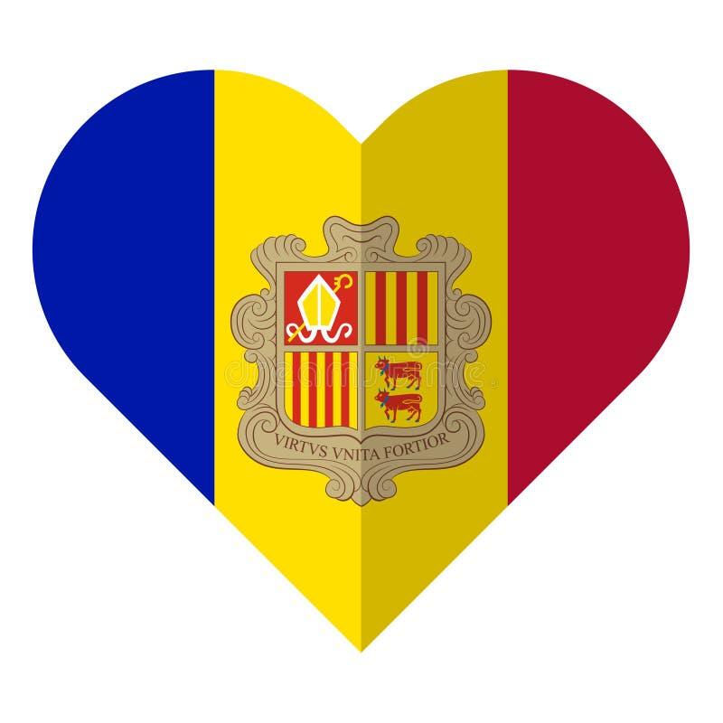 Vlakke het hartvlag van Andorra vector illustratie