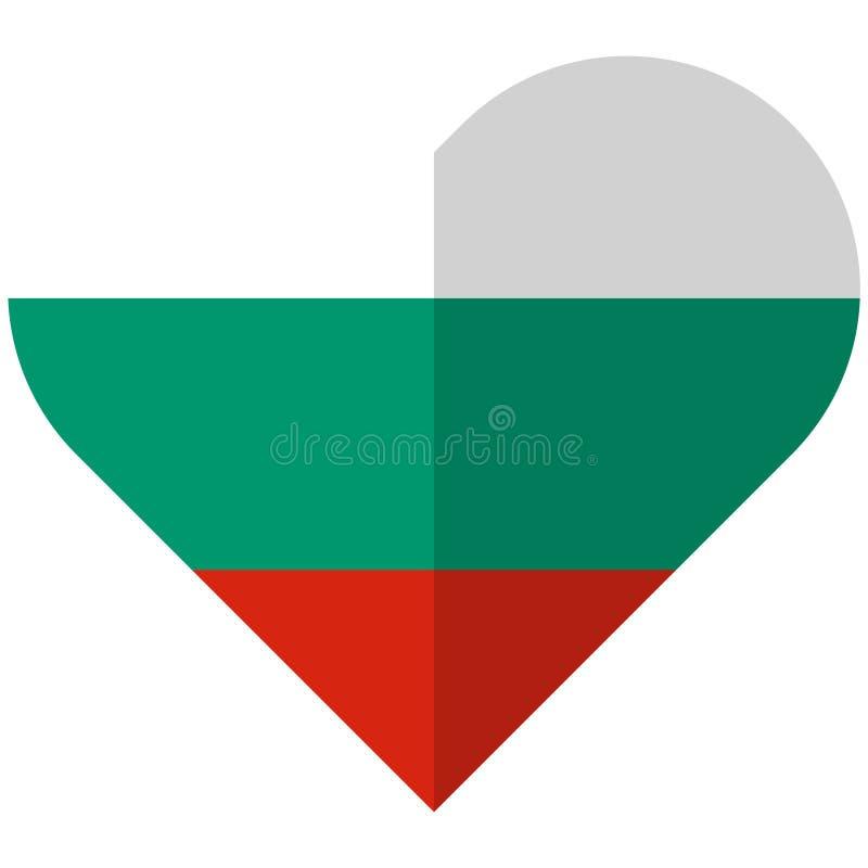 Vlakke het hartvlag van Bulgarije vector illustratie