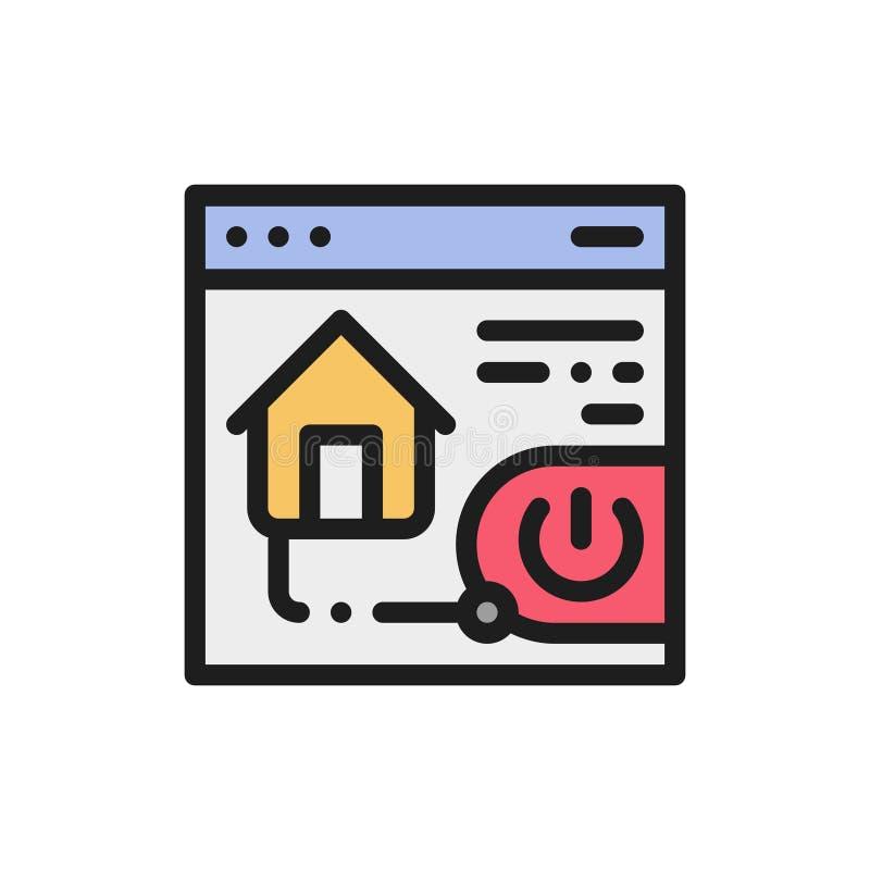 Vlakke het huisveiligheid van het kleurenpictogram Concept huiscontrole app royalty-vrije illustratie
