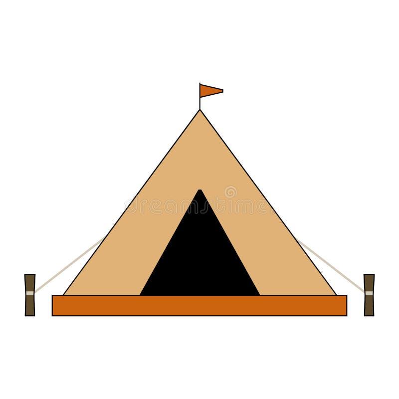 Vlakke het kamperen tentillustratie Geïsoleerd op wit vector illustratie