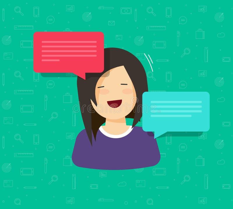 Vlakke het karakter en de bellentoespraken vectorillustratie van de beeldverhaalvrouw, idee van vrij het jonge gelukkige het glim stock illustratie
