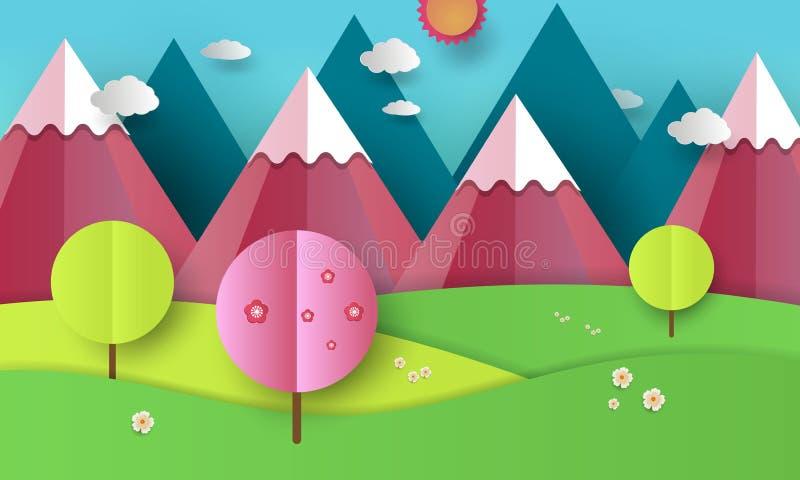 Vlakke het landschapsillustratie van de ontwerpaard met blauwe en roze bergen, heuvels, bloeiende bomen en wolken De lente en royalty-vrije illustratie