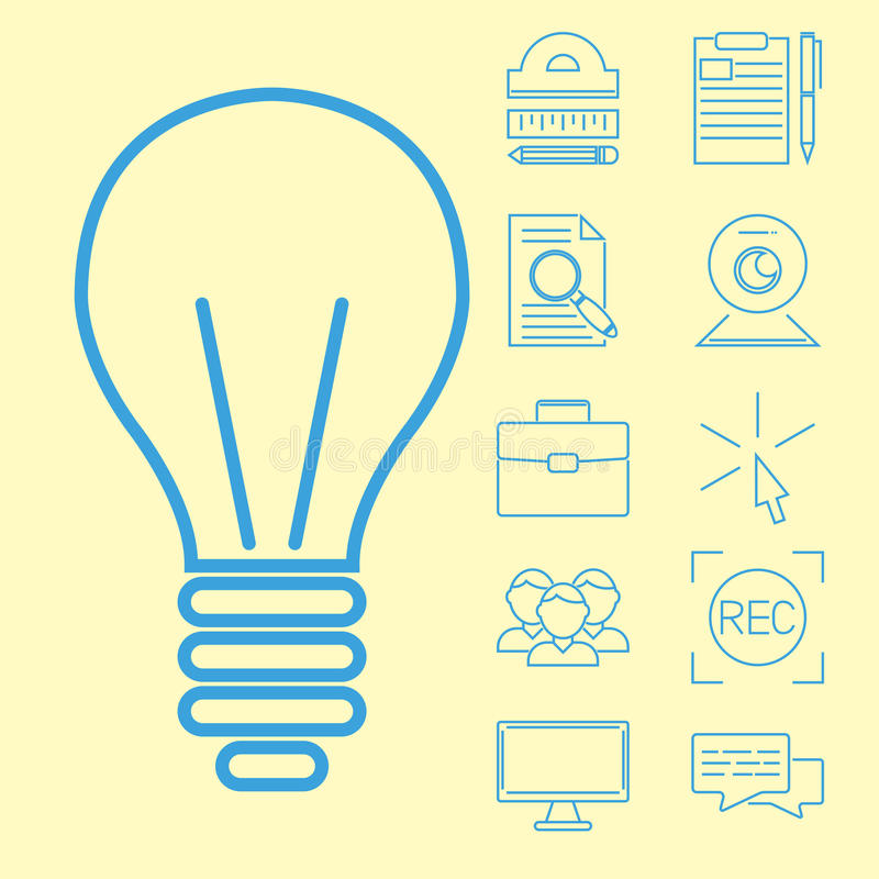 Vlakke het onderwijspersoneel van overzichtspictogrammen online opleidingsboekhandel verre het leren kennis vectorillustratie vector illustratie