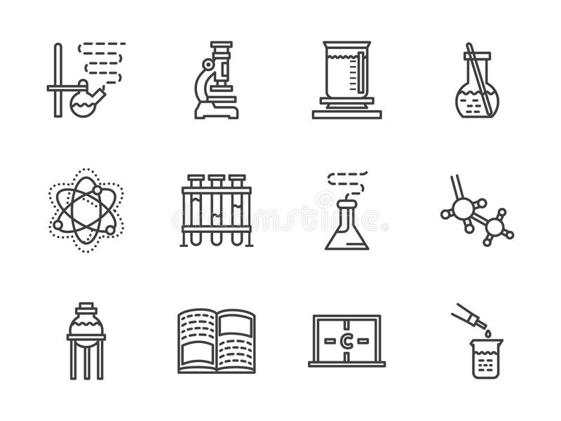 Vlakke het onderzoekpictogrammen van de lijnchemie vector illustratie