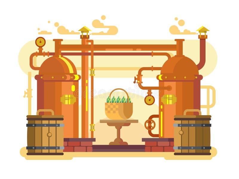Vlakke het ontwerp van het brouwerijbier royalty-vrije illustratie