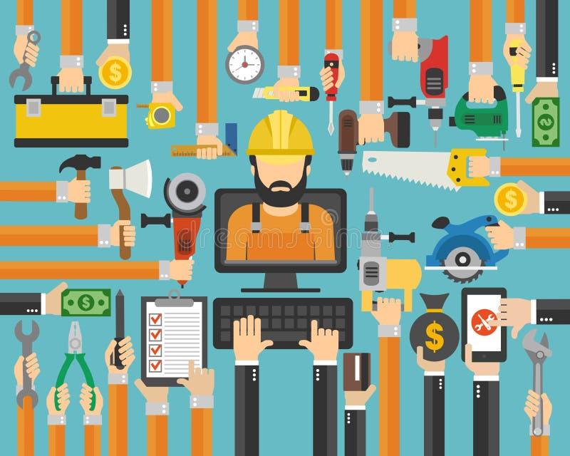 Vlakke het ontwerp van de reparatiedienst Meester, herstellervraag online stock illustratie