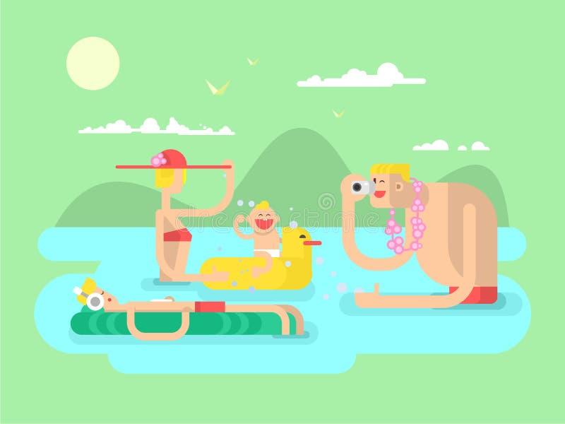 Vlakke het ontwerp van de vakantiefamilie stock illustratie