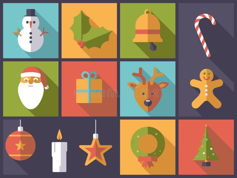 Vlakke het ontwerp vectorillustratie van de Kerstmisvakantie royalty-vrije illustratie