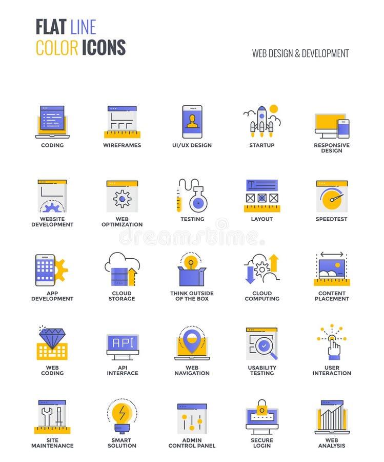 Vlakke het ontwerp-Web van lijn veelkleurige pictogrammen Ontwerp en Ontwikkeling royalty-vrije illustratie