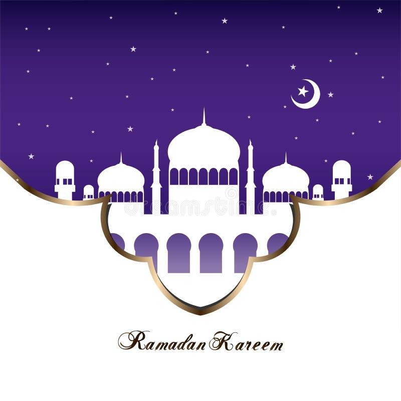 Vlakke het ontwerpachtergrond van de Ramadanmoskee vector illustratie