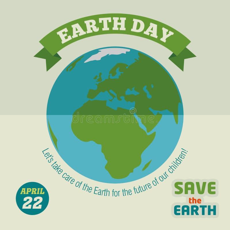 Vlakke het ontwerpaffiche van de aardedag royalty-vrije illustratie