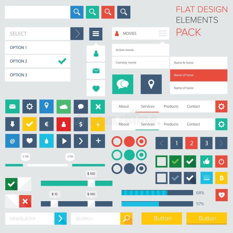 Vlakke het ontwerpelementen van de uiuitrusting voor webdesign stock illustratie