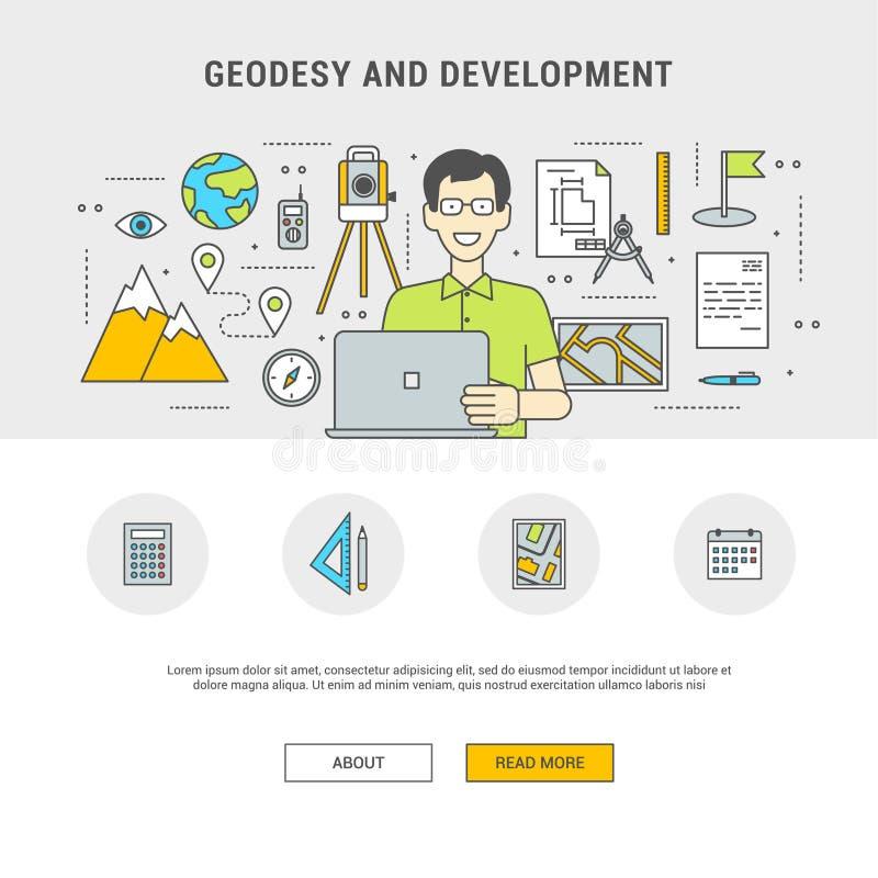 Vlakke het ontwerpgeodesie en ontwikkeling van het concepten vastgestelde overzicht vector illustratie
