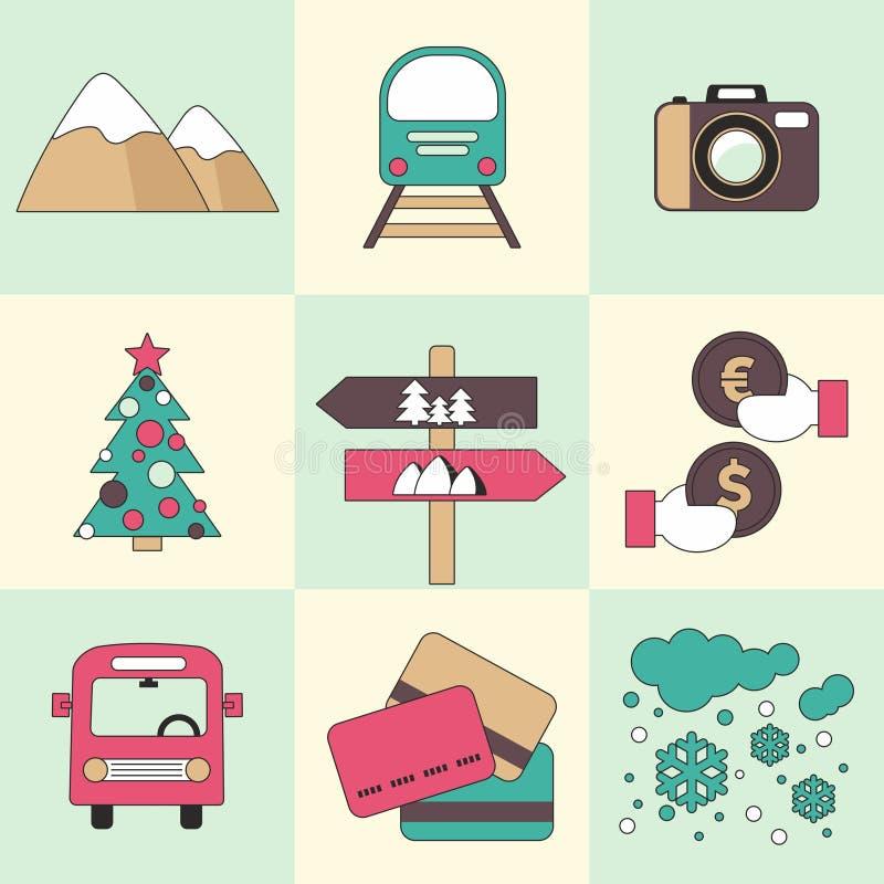 Vlakke het ontwerppictogrammen van de de winterreis stock foto's