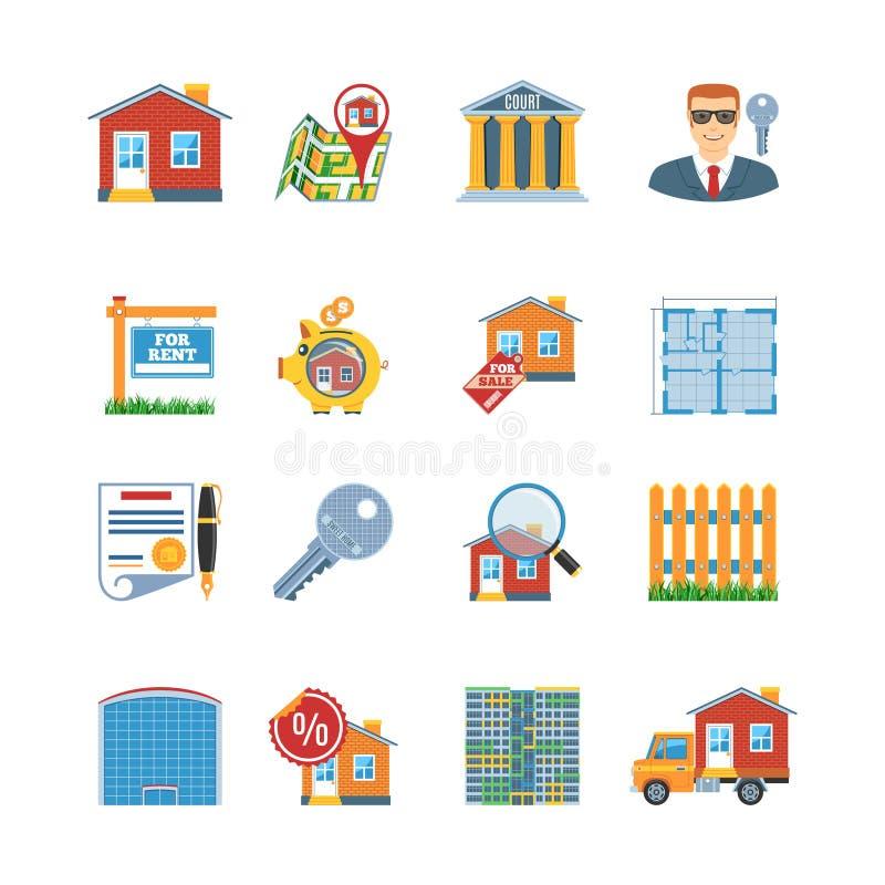 Vlakke het Ontwerppictogrammen van Real Estate royalty-vrije illustratie
