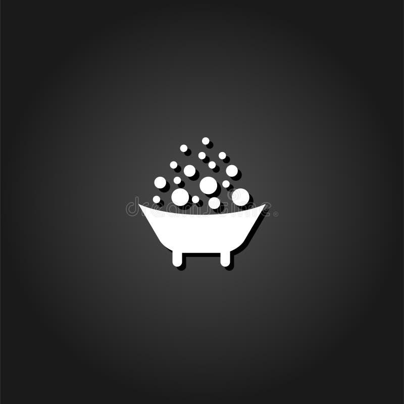 Vlakke het pictogram van het babybad stock illustratie