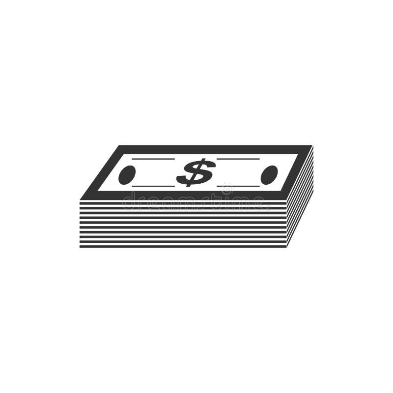 Vlakke het pictogram van het bundelgeld vector illustratie