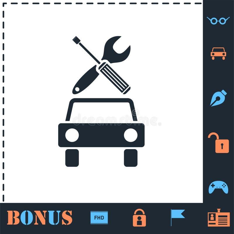 Vlakke het pictogram van de autodienst royalty-vrije illustratie