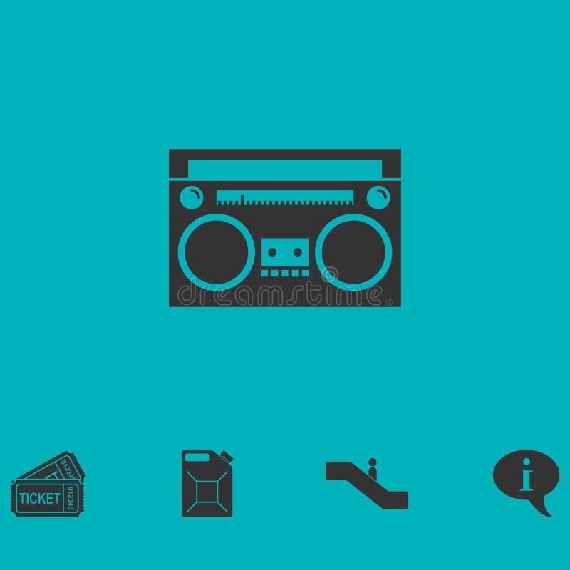 Vlakke het pictogram van de cassettespeler vector illustratie