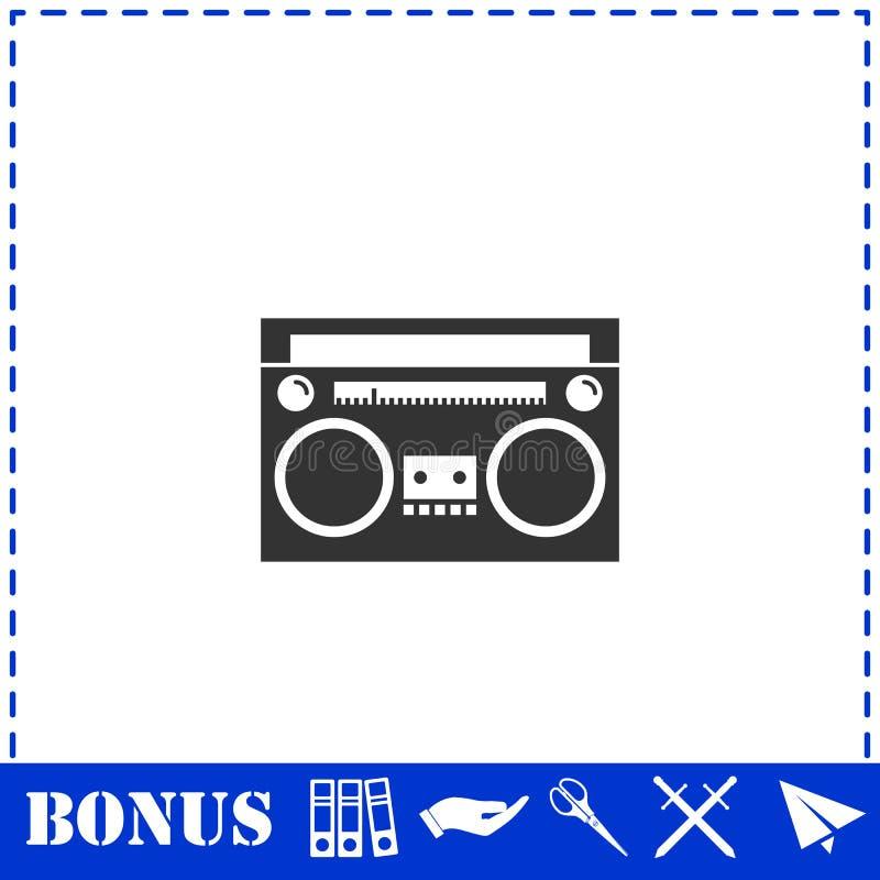 Vlakke het pictogram van de cassettespeler royalty-vrije illustratie