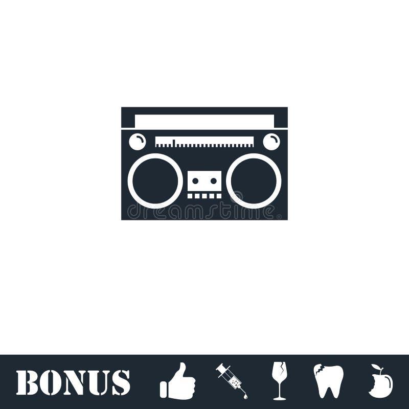 Vlakke het pictogram van de cassettespeler stock illustratie