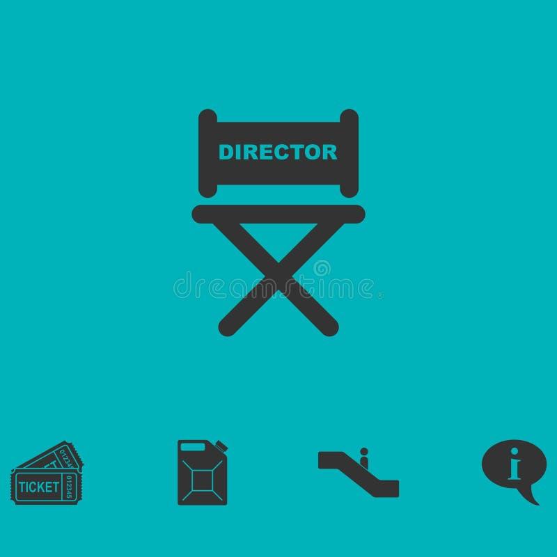 Vlakke het pictogram van de directeursstoel vector illustratie