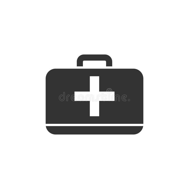 Vlakke het pictogram van de eerste hulpuitrusting stock illustratie