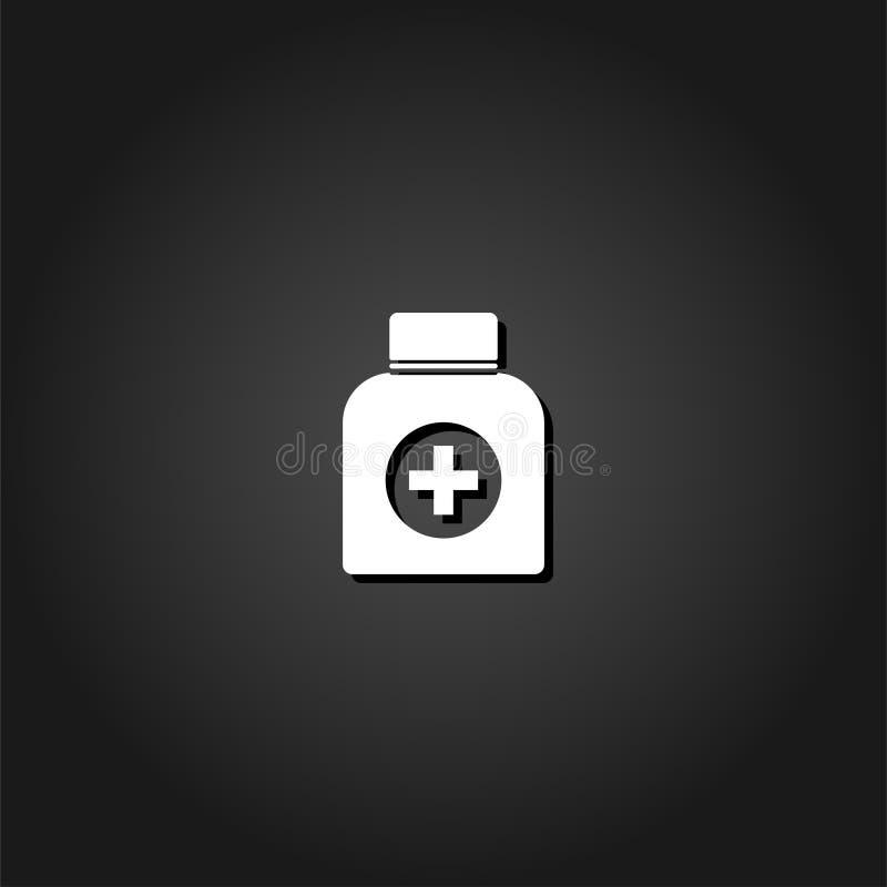 Vlakke het pictogram van de geneeskundefles royalty-vrije illustratie