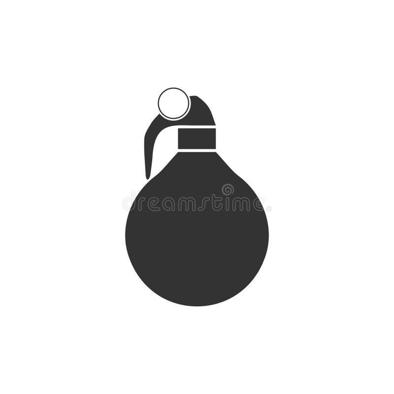 Vlakke het pictogram van de handgranaat stock illustratie